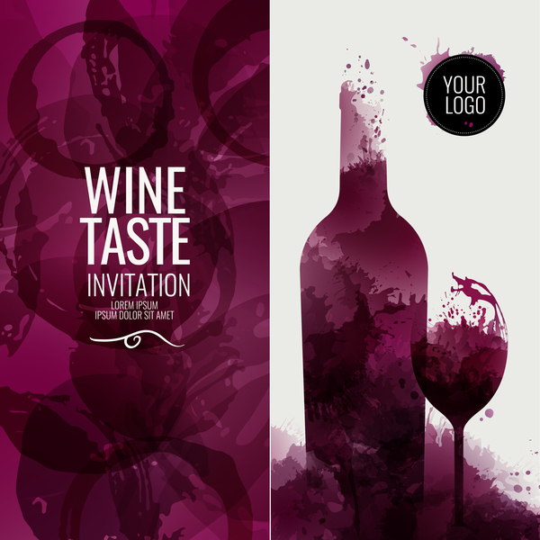 wine stains red glass circles bottle
