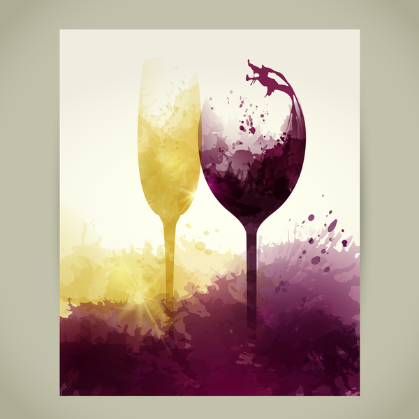 wine stains sparkling liquid glasses