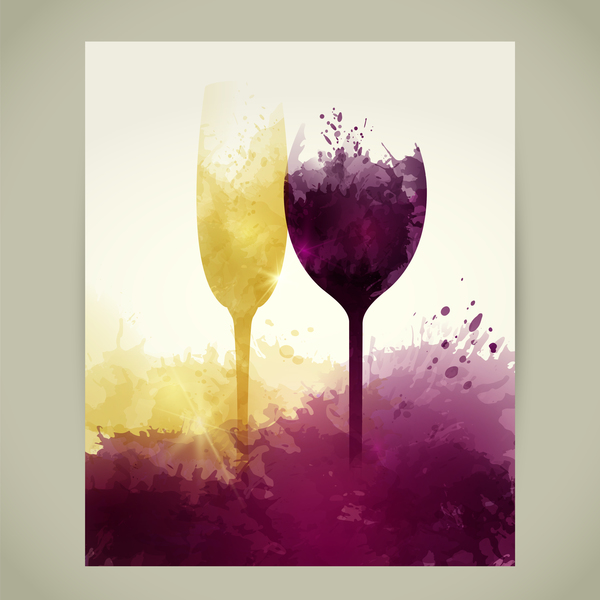 yellow wine stains sparkling red glasses