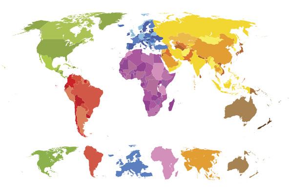 要素 色付き 地図 世界