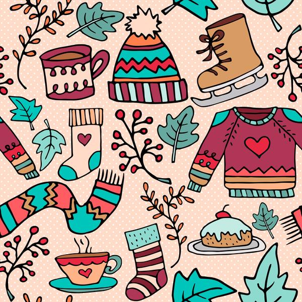 、落書き、パターン、シームレスな、クリスマス